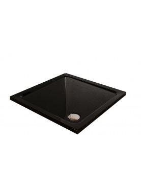 Diamond 35mm 700 x 700 Square Black Ultra Gloss Square 40mm Stone Shower Tray & Chrome Fast Flow Waste - DB7070S