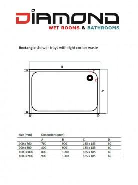 Diamond 35mm 1000 x 800 White Rectangle Stone Shower Tray with Corner Waste - DW1080R