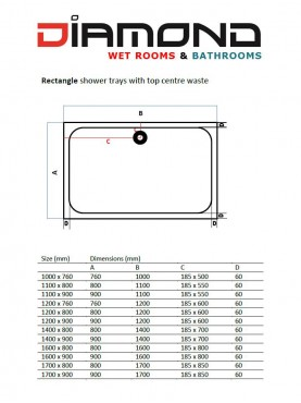 Diamond 35mm 1700 x 800 White Rectangle Stone Shower Tray with Central Waste - DW1780R