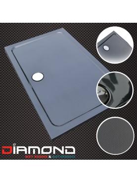 Diamond 35mm 1700 x 800 Black Carbon Fibre Effect Rectangle Stone Shower Tray. Central Waste - DC1780R