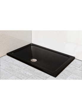 Diamond 35mm 1700 x 800 Black Ultra Gloss  Rectangle Stone Shower Tray with Central Waste - DB1780R