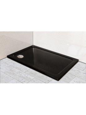 Diamond 35mm 1000 x 800 Black Ultra Gloss Rectangle Stone Shower Tray with Corner Waste - DB1080R
