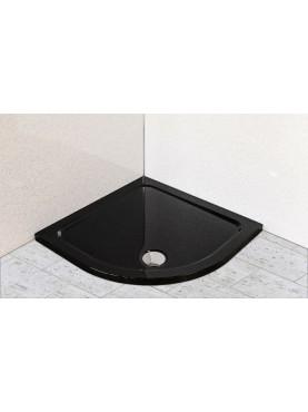 Diamond 35mm Quadrant Stone Slimline Black Gloss 800 x 800 Shower Tray & Chrome Fast Flow Waste - DBQ8080