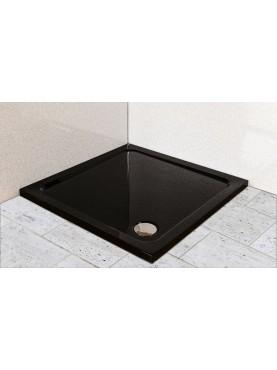 Diamond 35mm 800 x 800 Black Gloss Square Stone Slimline Shower Tray & Chrome Fast Flow Waste - DB8080S