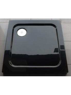 Diamond 35mm 700 x 700 Square Black Ultra Gloss Square Stone Shower Tray & Chrome Fast Flow Waste - DB7070S