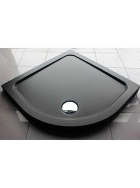 Diamond 35mm Quadrant Stone Slimline Matt Black 800 x 800 Shower Tray & Chrome Fast Flow Waste - DMQ8080