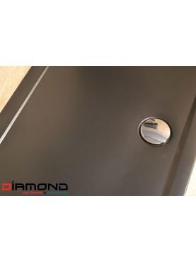 Diamond 35mm 700 x 700 Square Black Matt  Stone Slimline Shower Tray & Chrome Fast Flow Waste - DM7070S