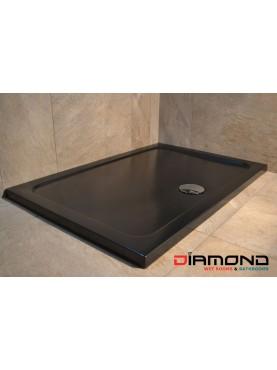 Diamond 35mm 1700 x 800 Black Matt 35mm Rectangle Stone Shower Tray with Central Waste - DM1780R