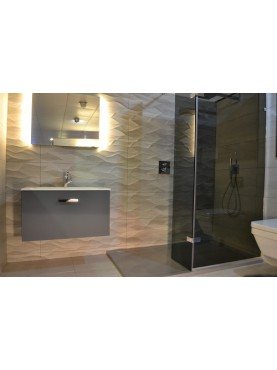 Diamond 35mm 900 x 760 Silver Shimmer Rectangle Stone Shower Tray with Corner Waste - DS9076R
