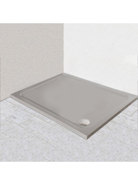 Diamond 35mm 900 x 800 Silver Shimmer Rectangle Stone Shower Tray with Corner Waste - DS9080R