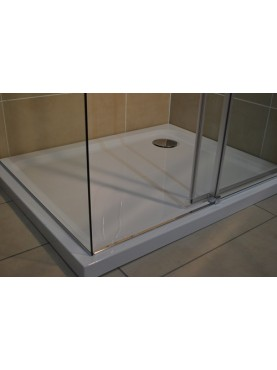 Diamond 35mm 900 x 760 White Rectangle Stone Shower Tray with Corner Waste - DW9076R