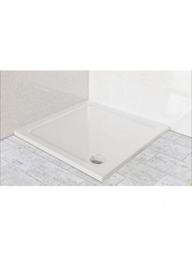 Diamond 35mm 700 x 700 White Square Stone Slimline Shower Tray & Chrome Fast Flow Waste - DW7070S