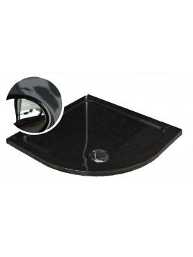 Diamond 35mm Quadrant Stone Slimline Carbon Fibre Effect 800 x 800 Shower Tray & Chrome Fast Flow Waste - DCQ8080