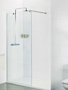 Roman Select 400mm WALK IN SHOWER SCREEN WET ROOM GLASS PANEL WITH 8mm Ultra Care Glass
