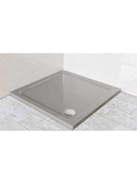 Diamond 35mm 700 x 700 Square Silver Grey Stone Slimline Shower Tray & Chrome Fast Flow Waste - DS7070S