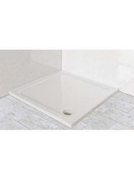 Diamond 35mm 760 x 760 White Square Stone Slimline Shower Tray & Chrome Fast Flow Waste - DW7676S