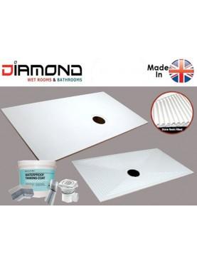 Rectangle Diamond Wet Room Complete Shower Tray Base Kit D00RTC